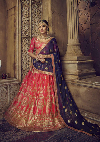 Pink Color Silk Semi Stitched Lehenga - HR-10008