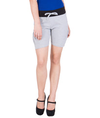 AMERICAN ELM-Women's Beautiful Cotton Stitched Shorts - HS-15-Grey-16-Black-17-DGrey