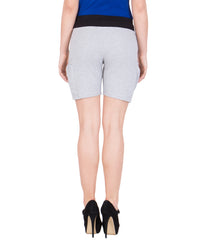 AMERICAN ELM-Women's Beautiful Cotton Stitched Shorts - HS-19-Grey-21-Black