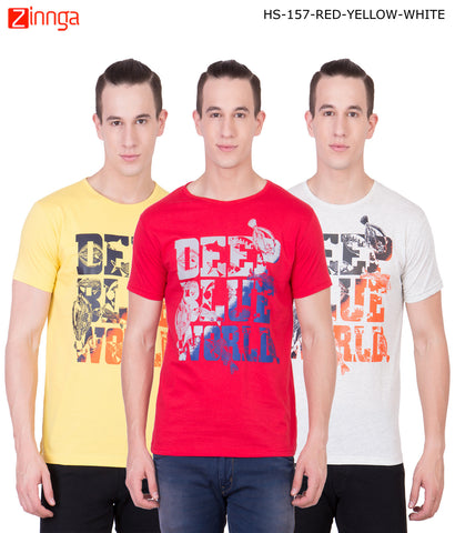 AMERICAN ELM -Men's Stylish Cotton T-Shirts  - HS-157-RED-YELLOW-WHITE