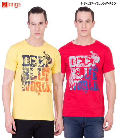 AMERICAN ELM -Men's Stylish Cotton T-Shirts  - HS-157-YELLOW-RED