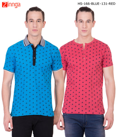 AMERICAN ELM -Men's Stylish Cotton T-Shirts  - HS-166-BLUE-131-RED