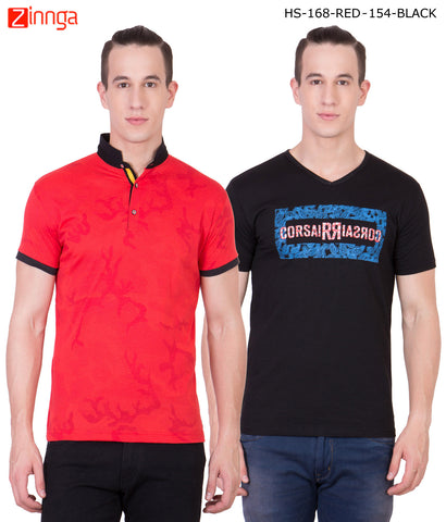 AMERICAN ELM -Men's Stylish Cotton T-Shirts  - HS-168-RED-154-BLACK