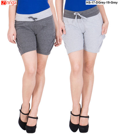 AMERICAN ELM-Women's Beautiful Cotton Stitched Shorts - HS-17-DGrey-19-Grey