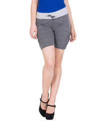 AMERICAN ELM-Women's Beautiful Cotton Stitched Shorts - HS-17-DGrey-18-Blue