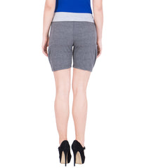 AMERICAN ELM-Women's Beautiful Cotton Stitched Shorts - HS-17-DGrey-20-Grey
