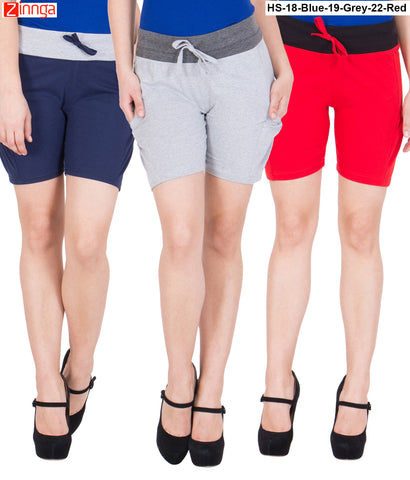 AMERICAN ELM-Women's Beautiful Cotton Stitched Shorts - HS-18-Blue-19-Grey-22-Red