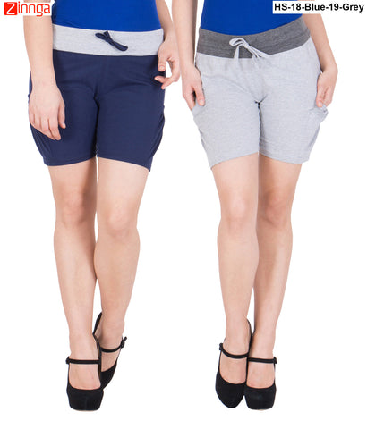 AMERICAN ELM-Women's Beautiful Cotton Stitched Shorts - HS-18-Blue-19-Grey