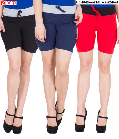AMERICAN ELM-Women's Beautiful Cotton Stitched Shorts - HS-18-Blue-21-Black-22-Red
