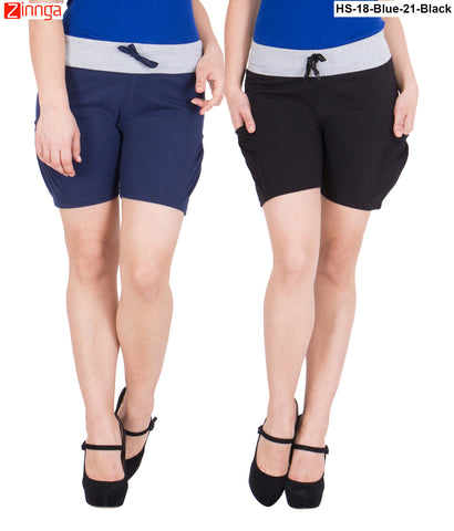 AMERICAN ELM-Women's Beautiful Cotton Stitched Shorts - HS-18-Blue-21-Black