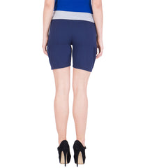 AMERICAN ELM-Women's Beautiful Cotton Stitched Shorts - HS-16-Black-18-Blue