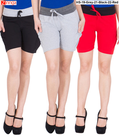 AMERICAN ELM-Women's Beautiful Cotton Stitched Shorts - HS-19-Grey-21-Black-22-Red