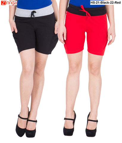 AMERICAN ELM-Women's Beautiful Cotton Stitched Shorts - HS-21-Black-22-Red