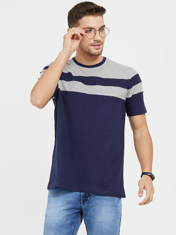 Navy Color Cotton Men T-Shirts-HS31NG