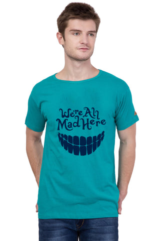 AMERICAN ELM-  Turquoise Color Cotton Half Sleeve T-Shirt - HSPT-B10NBL