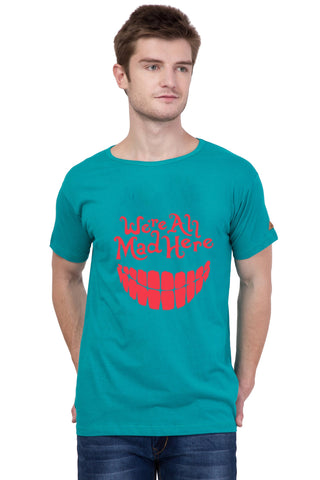AMERICAN ELM-  Turquoise Color Half Sleeves Red Printed T-Shirt - HSPT-B10RED