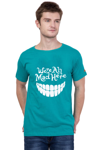 AMERICAN ELM-  Turquoise Color Round Neck Cotton Printed T-Shirt - HSPT-B10WHT