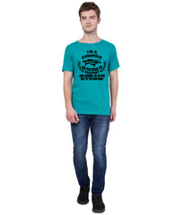 AMERICAN ELM- Turquoise Color Cotton  T-Shirt - HSPT-B11BLK