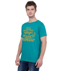 AMERICAN ELM- Turquoise Color Cotton  T-Shirt - HSPT-B11GL