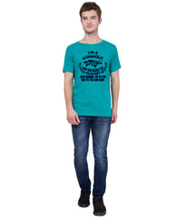 AMERICAN ELM- Turquoise Color Cotton  T-Shirt - HSPT-B11NBL