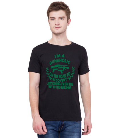 AMERICAN ELM- Black Color Cotton T-Shirt - HSPT-C11GRN