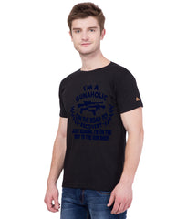AMERICAN ELM- Black Color Cotton T Shirt - HSPT-C11NBL
