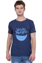 Navy Blue Color Round Neck Printed T-Shirt