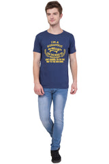 AMERICAN ELM- Navy Blue Color Cotton T-Shirt - HSPT-D11GL