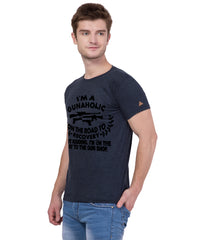 AMERICAN ELM- Navy Blue Color Cotton T-Shirt - HSPT-E11BLK