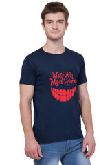 AMERICAN ELM-  Navy Blue Color Half Sleeves Cotton T-Shirt - HSPT-F10RED