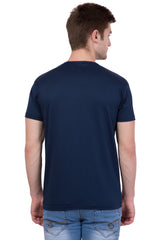 AMERICAN ELM-  Navy Blue Color Round Neck Cotton T-Shirt - HSPT-D10YWL