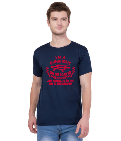 AMERICAN ELM- Navy Blue Color Cotton T-Shirt - HSPT-F11RED