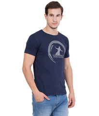 AMERICAN ELM- Navy Blue  Color Cotton T-Shirt - HSPT-F19GRY