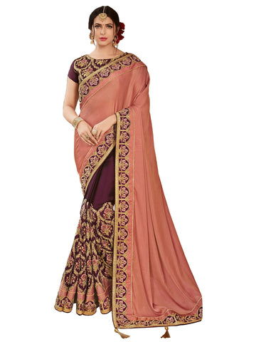 Peach and Maroon Color Two Tone Satin Saree - HT32310