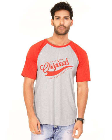 Deep Orange and White Color Cotton Mens T-Shirt - HTTS1012