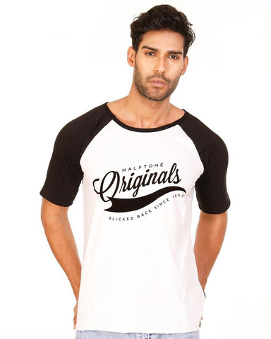 Black and White Color Cotton Mens T-Shirt - HTTS1014