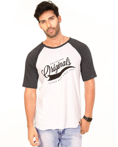 Charcoal White Color Cotton Mens T-Shirt - HTTS1015