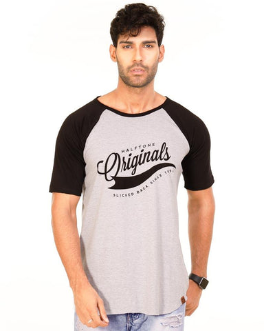 Black and LightGrey Color Cotton Mens T-Shirt - HTTS1016