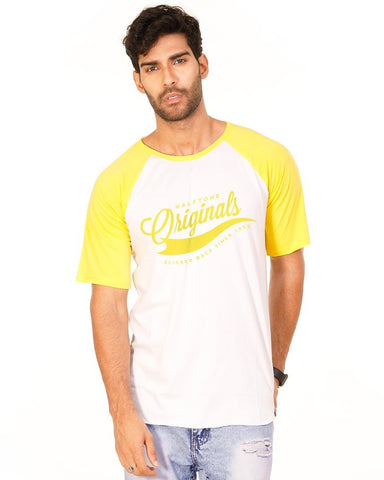 Golden Yellow Color Cotton Mens T-Shirt - HTTS1017