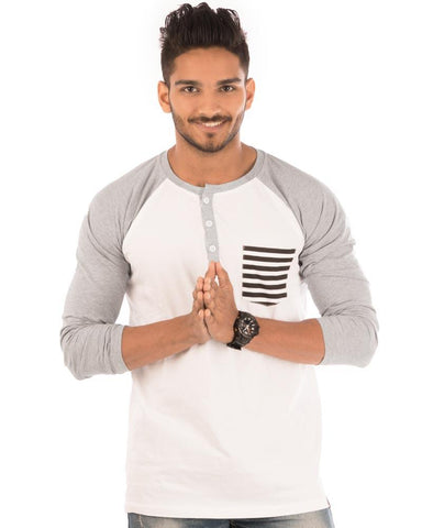 Light Grey Color Cotton Mens T-Shirt - HTTS1019
