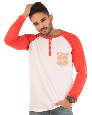 Deep Orange Color Cotton Mens T-Shirt - HTTS1020