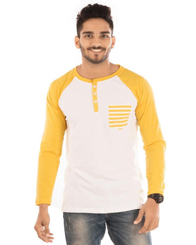Golden Yellow Color Cotton Mens T-Shirt - HTTS1025