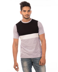 JetBlack and LightGrey Color Cotton Mens T-Shirt