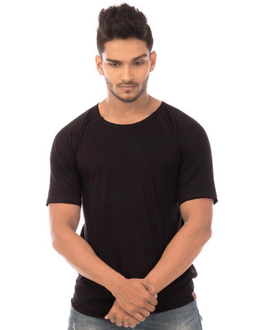 Jet Black Color Cotton Mens T-Shirt - HTTS1036