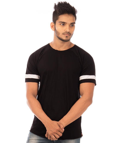 Jet Black Color Cotton Mens T-Shirt - HTTS1041