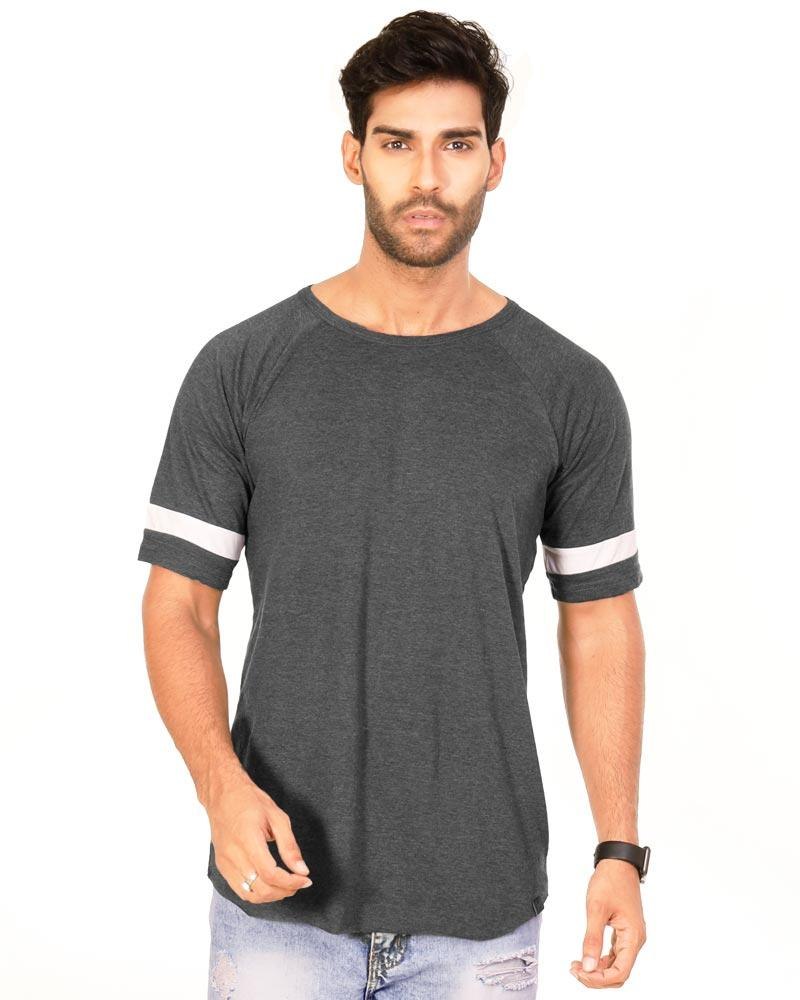 Charcoal Melange Color Cotton Mens T-Shirt