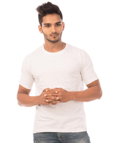 White Color Cotton Mens T-Shirt - HTTS1045