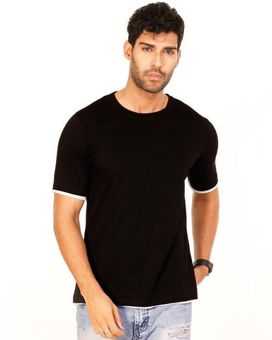 JetBlack Color Cotton Mens T-Shirt - HTTS1046