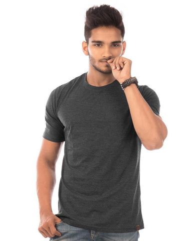 Charcoal Melange Color Cotton Mens T-Shirt - HTTS1047