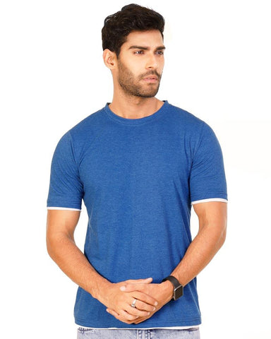 RoyalBlue Color Cotton Mens T-Shirt - HTTS1049